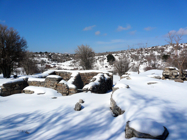 Zominthos in the winter, covered in snow