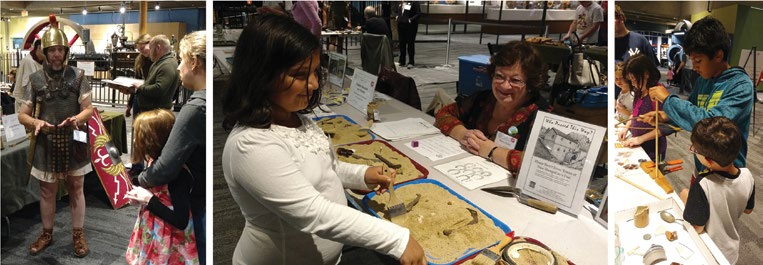 Attendees at the AIA-MOS Fair in Boston speak to Roman soldiers, participate in simulated digs, and use a bow drill.