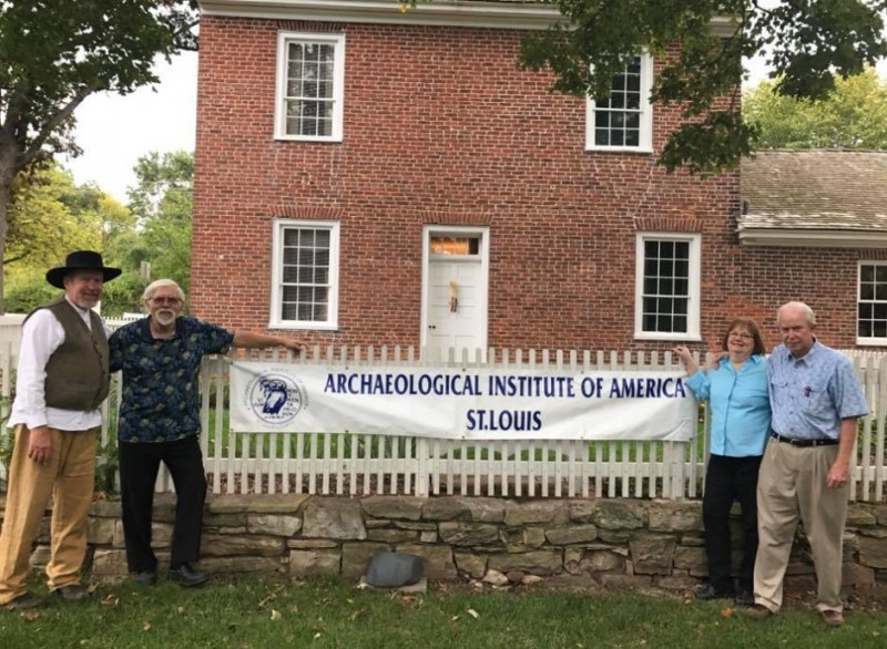 Officers of the St. Louis Society in front of the Thomas Sappington House. (Photo Courtest of Stephen Hanpeter)