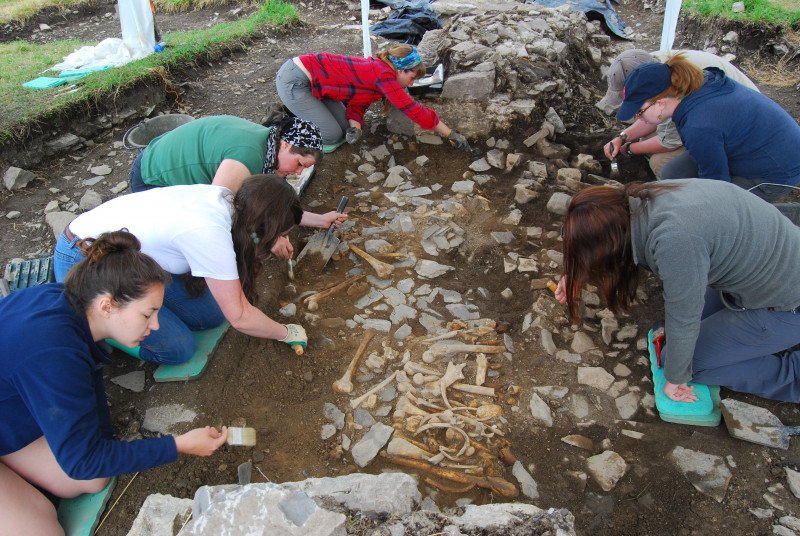 Students excavating human remains at the Blackfriary site