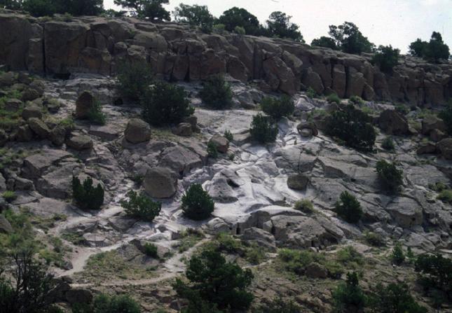 Figure 1. Landscape erosion from uncontrolled visitation at Tsankawi, Bandelier National Monument.