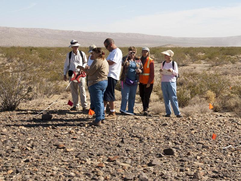 At a CASSP advanced training workshop about creating site sketch maps, CASSP volunteers practice their new skills at an archaeological site in the Mojave Desert.