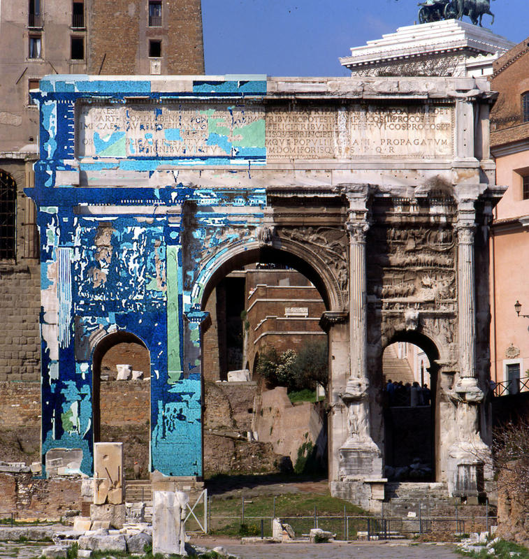 The arch of Septimus Severus in the Roman Forum was documented using scaled maps to make logical clusters of the numerous features noted on the surfaces. This is the map of the superficial deterioration mechanisms  (1980).
