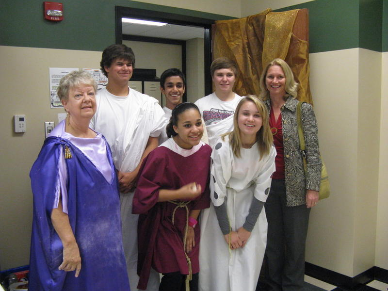 Latin II students with Lillian Joyce and Cathie Dunar.