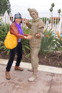 Jarry, a mime sometimes mistaken for a life size Terra Cotta Warrior statue.