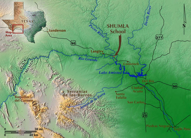 Figure 1. The Lower Pecos is a cultural area defined by Pecos River Style rock art found in the canyonlands centering on the confluence of the Pecos River with the Rio Grande. Map by Kerza Prewitt.