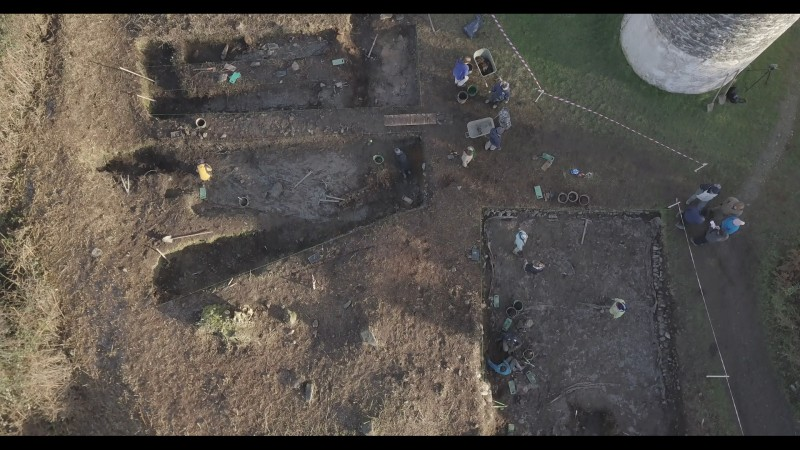 Figure 1: Aerial image of the 2018 excavation, showing the re-exposed Cutting 1 (left), Cutting 2 (right) and the faux round tower