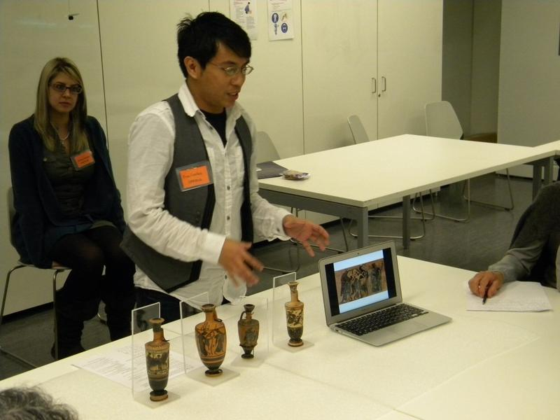 Gino Canlas displaying Greek vases at the Museum of Anthropology at the University of British Columbia