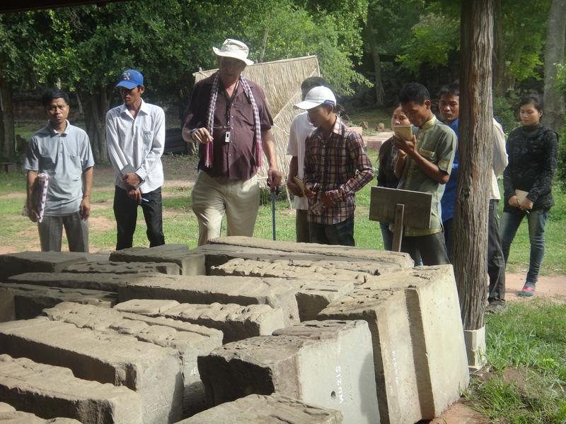 John Sanday and guide trainees as they explore Banteay Chhmar