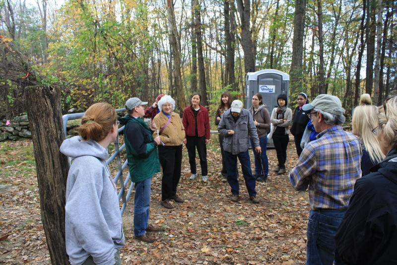 President Scott Bradbury makes introductions to the Smith College MacLeish Field Station and the days activities.