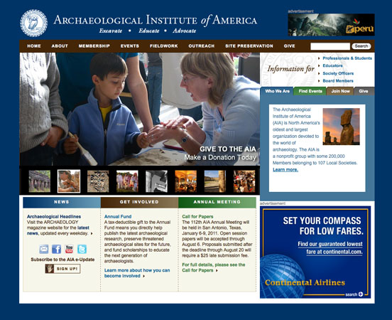 Screenshot of the new AIA website