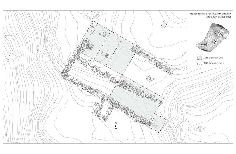 Floor plan of Plantation House, Carr Plantation, Little Bay, Montserrat (Plan by Kevin Patrick Russell)