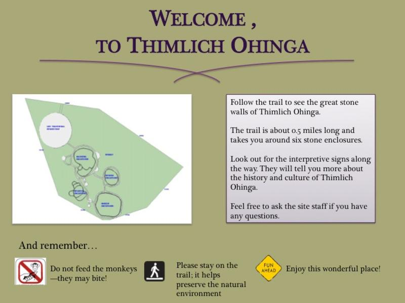 One student's interpretation for the welcoming signage at Thimlich Ohinga, Kenya.