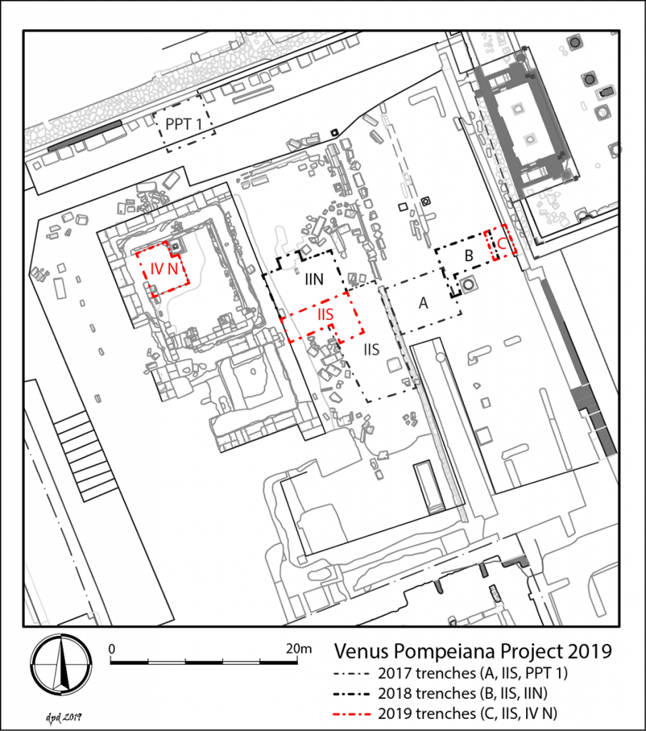 State plan showing the location of Samnite-era structures below the porticoes and open court of the Roman temple and the positioning of the 2019 trenches.