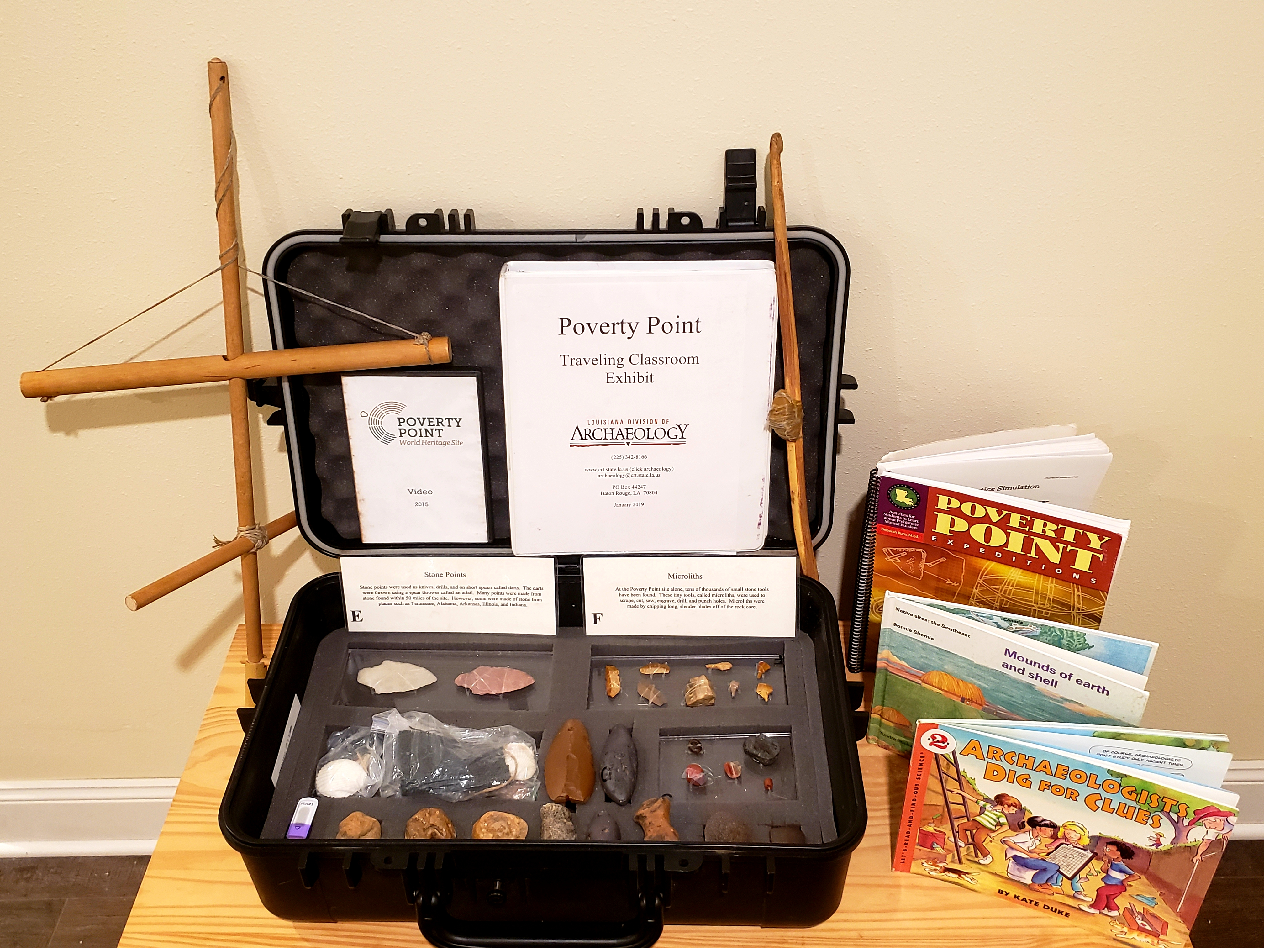 Poverty Point Traveling Classroom Exhibit Kit. Photo courtesy of the Louisiana Department of Culture, Recreation and Tourism, Office of Cultural Development, Division of Archaeology.
