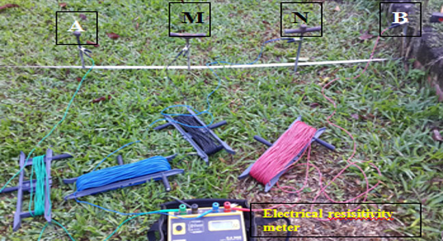 Figure 2: Electrical resisitivity meter, C.A. 6425; Chauvin Arnoux, used in this research. A and B = current electrodes; M and N = potential electrodes. Photo by Farisha Kartosemito (2016).