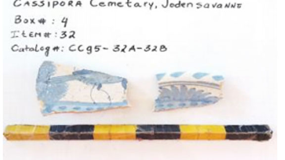 Figure 4: Majolica sherds with a bird and flower pattern.
