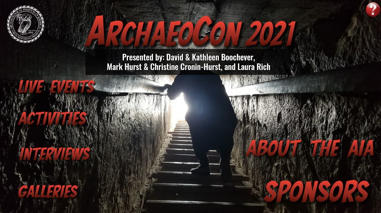 Home screen for the ArchaeoCon virtual experience.